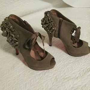 Betsey Johnson Platform Taupe Suede Shoes